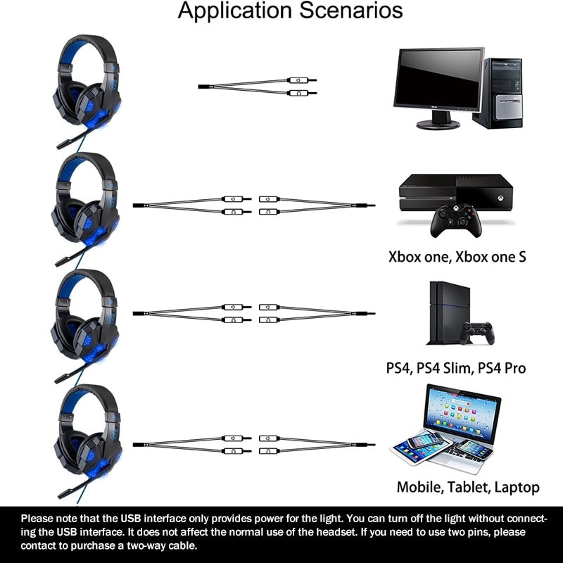 Adjustable Gaming Headset For SONY Playstation/Xbox/NS/PC with Noise Cancelling and Mic Auriculares Red - 4