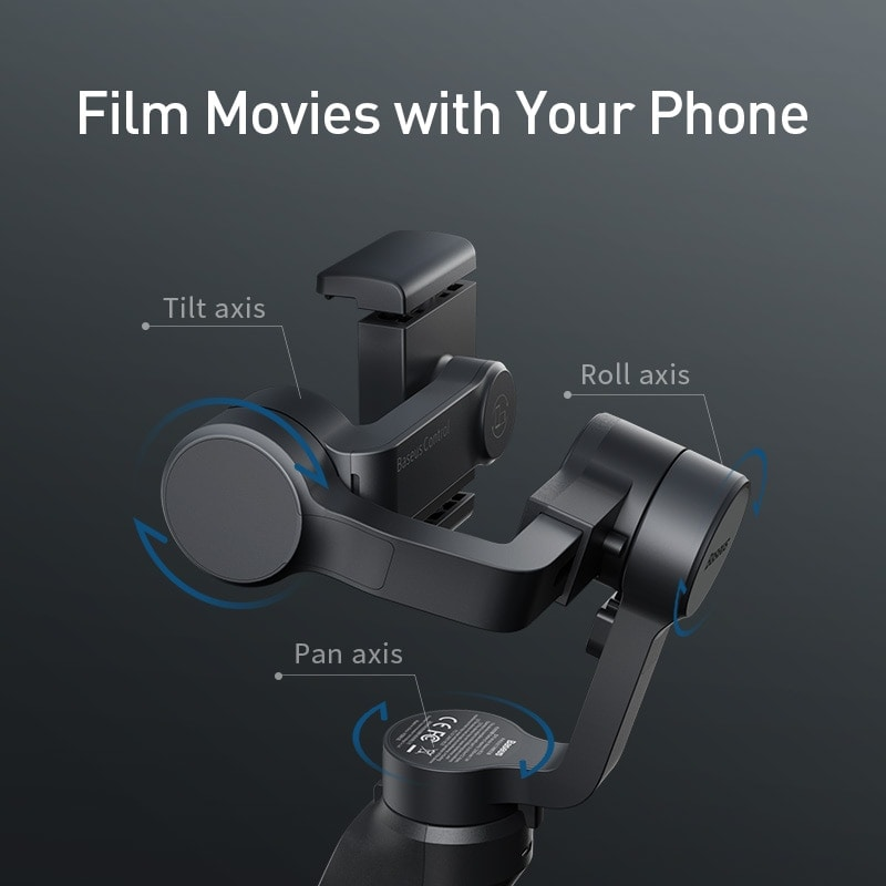 Baseus 3 Axis Smartphone Vlog Gimbal for Iphone and Android Smartphones Black - 2