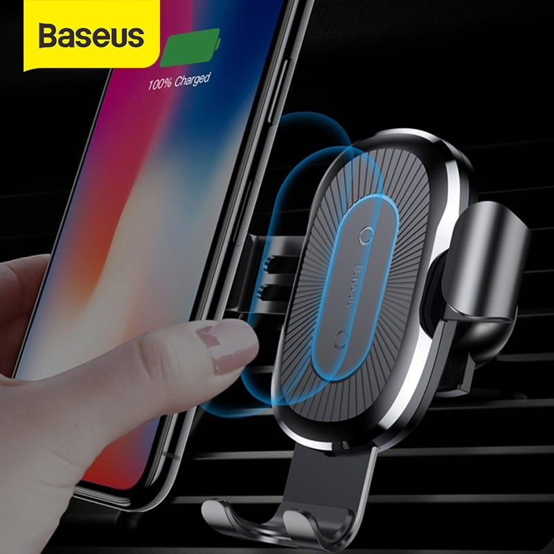 Baseus Fast Wireless Car Charger Air Vent Phone Holder Black - 1