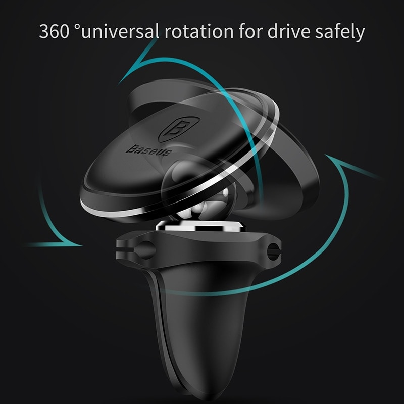 Baseus Magnetic Car Phone Holder 360 Rotation Air Vent Mount with Cable Clip Black - 3