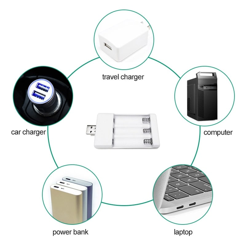 Battery Charger For Universal AA / AAA Rechargeable Batteries 3000mAh - 4