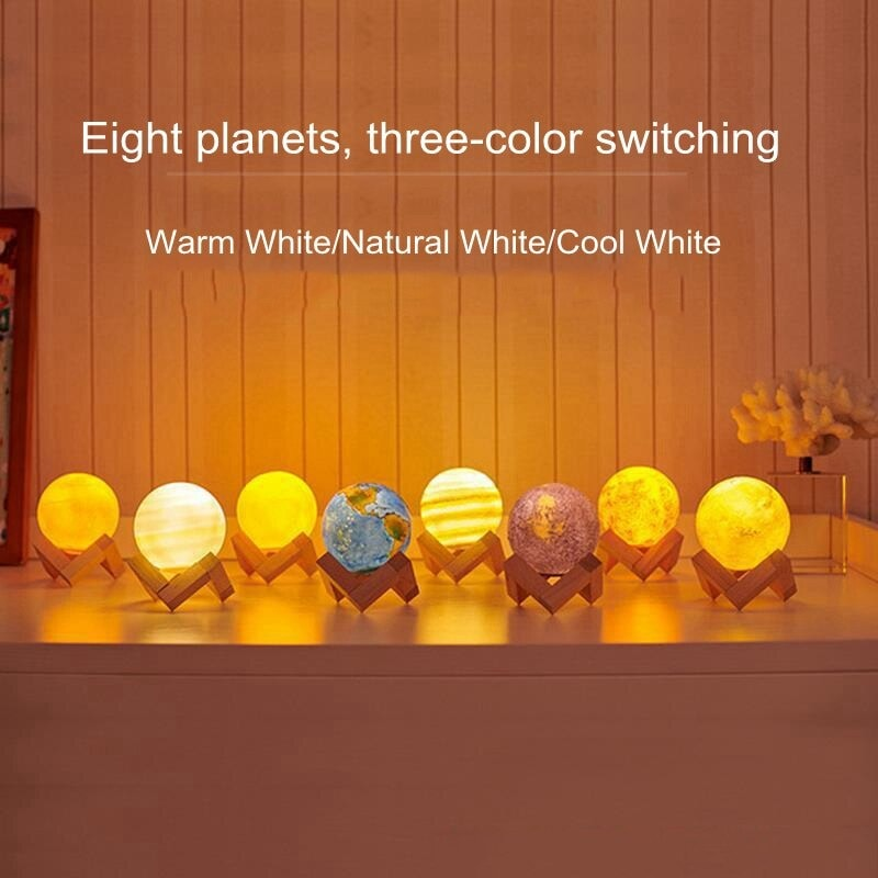 Creative Rechargeable 3D Print Eight Planets Lamp Night Light Touch Pat Moon light With 3Colors Home Decor Romantic Gift Multi-colour - 3