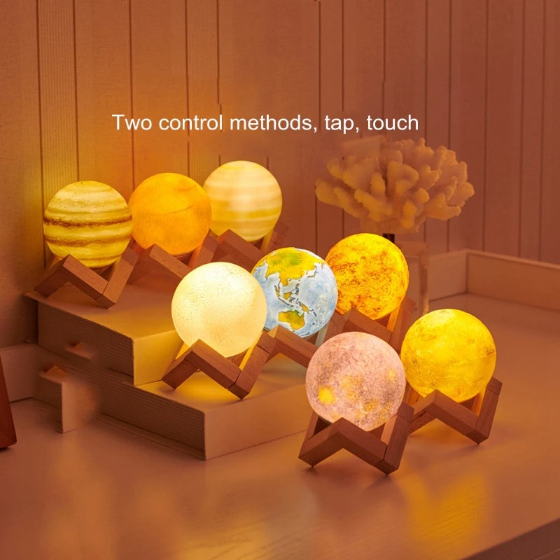 Creative Rechargeable 3D Print Eight Planets Lamp Night Light Touch Pat Moon light With 3Colors Home Decor Romantic Gift Multi-colour - 4
