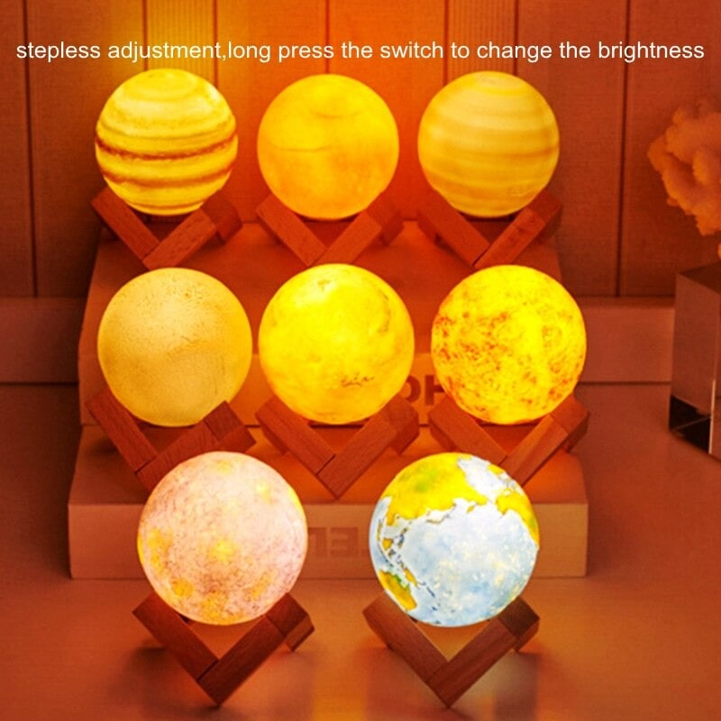Creative Rechargeable 3D Print Eight Planets Lamp Night Light Touch Pat Moon light With 3Colors Home Decor Romantic Gift Multi-colour - 5