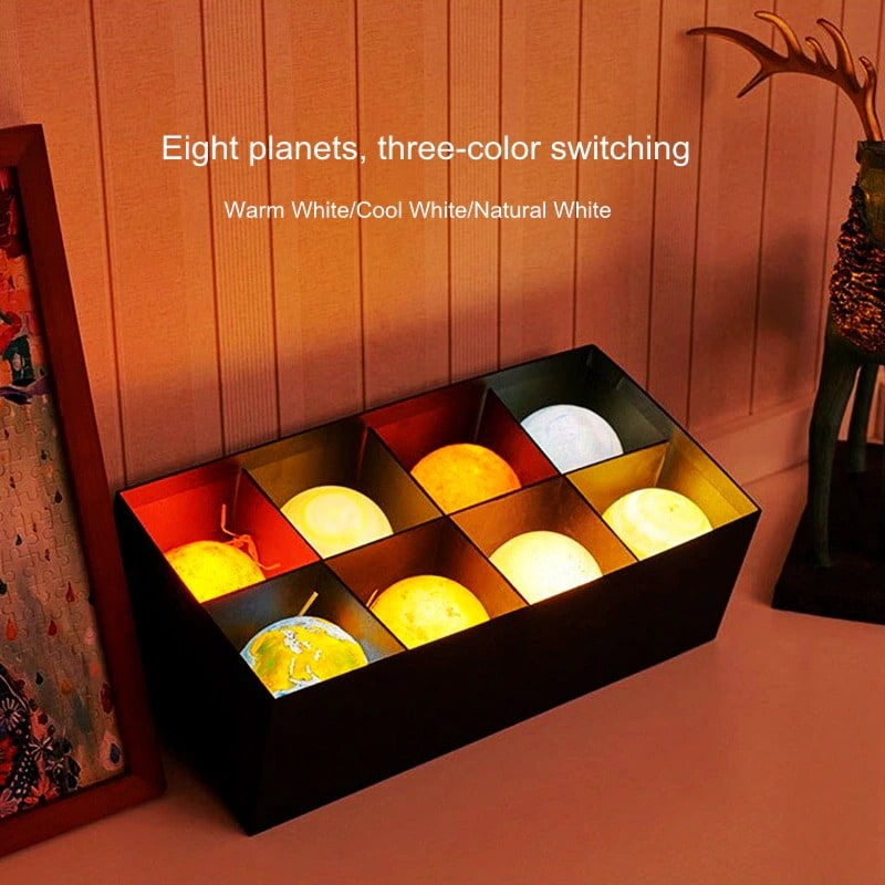Creative Rechargeable 3D Print Eight Planets Lamp Night Light Touch Pat Moon light With 3Colors Home Decor Romantic Gift Multi-colour - 2