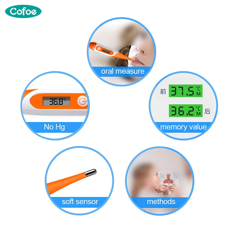 Digital Thermometer for Body and Fever Temperature Measuring with Soft Head Electronic LCD - 4