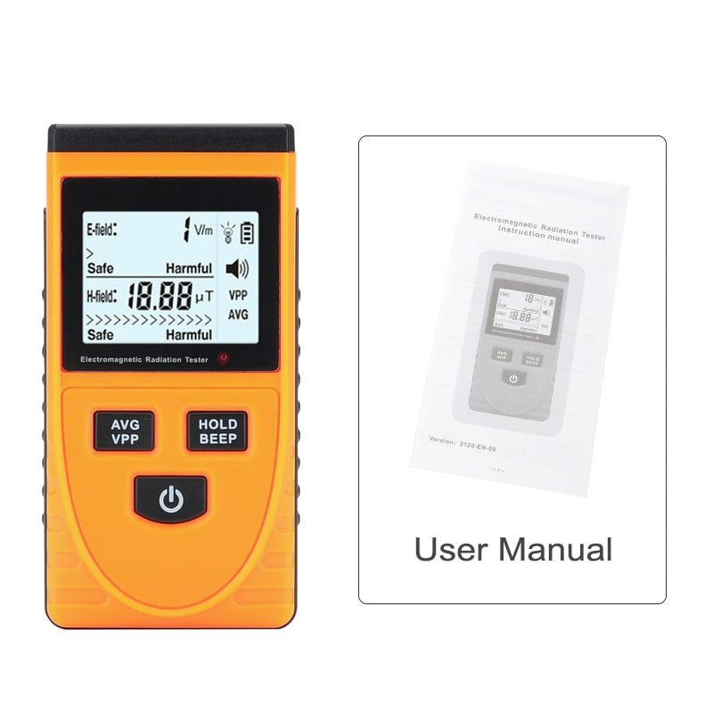 Electromagnetic Frequency Radiation Detector - 5Hz To 3500MHz, 1 To 1999V/m Range, LCD Display, Ghost Detector - 6