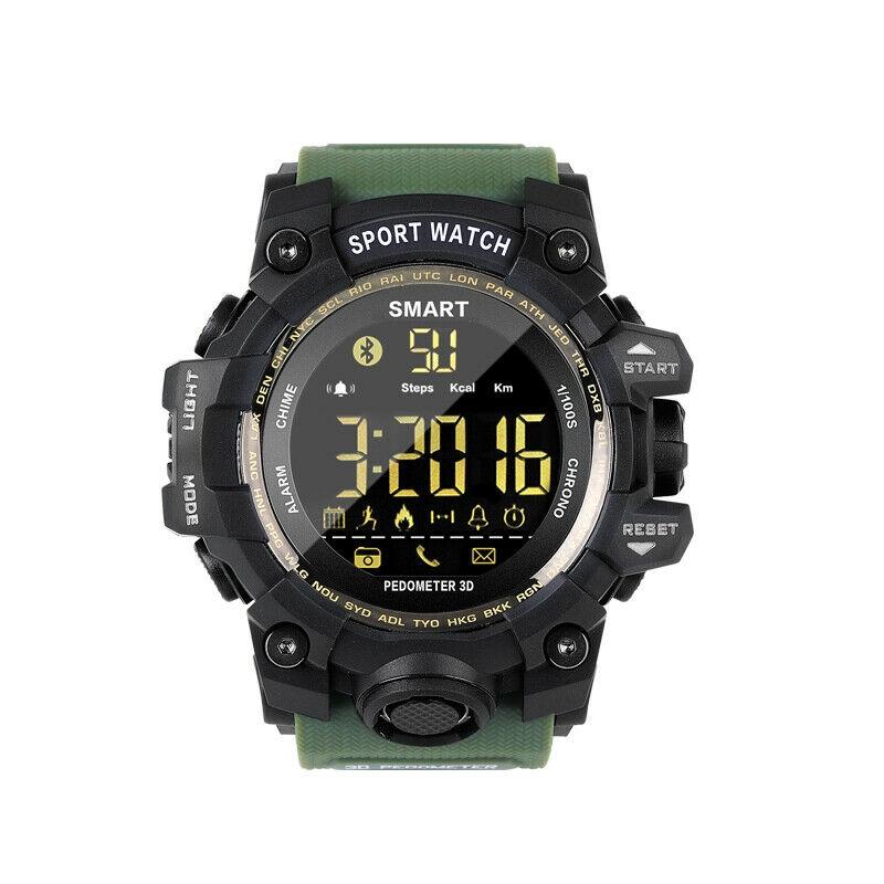 EX16S Waterproof Smart Sport Watch Bluetooth Pedometer Men Wristwatch Green - 1