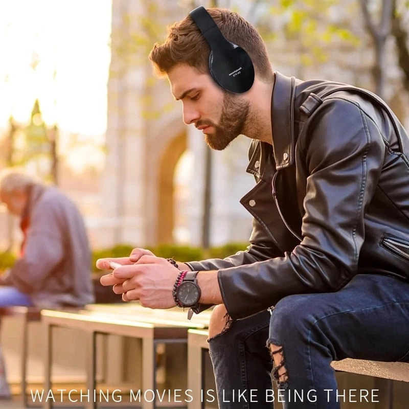Foldable Adjustable Gaming Earphones With Mic For PC Phone Black - 7