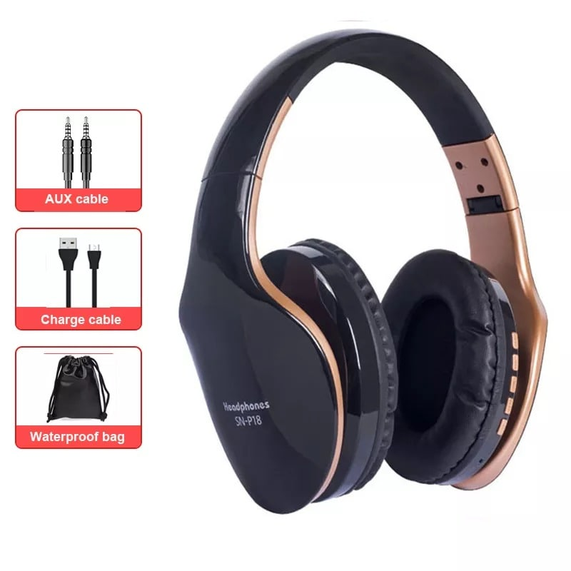 Foldable Adjustable Gaming Earphones With Mic For PC Phone Black - 1