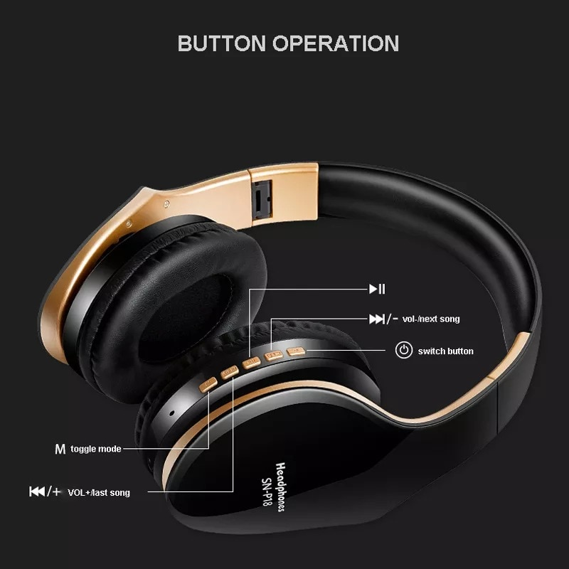 Foldable Adjustable Gaming Earphones With Mic For PC Phone Gold - 2