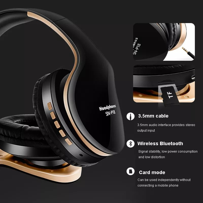 Foldable Adjustable Gaming Earphones With Mic For PC Phone Gold - 3