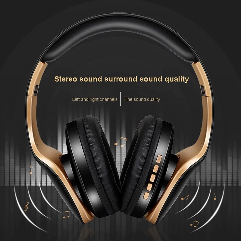 Foldable Adjustable Gaming Earphones With Mic For PC Phone Gold - 4