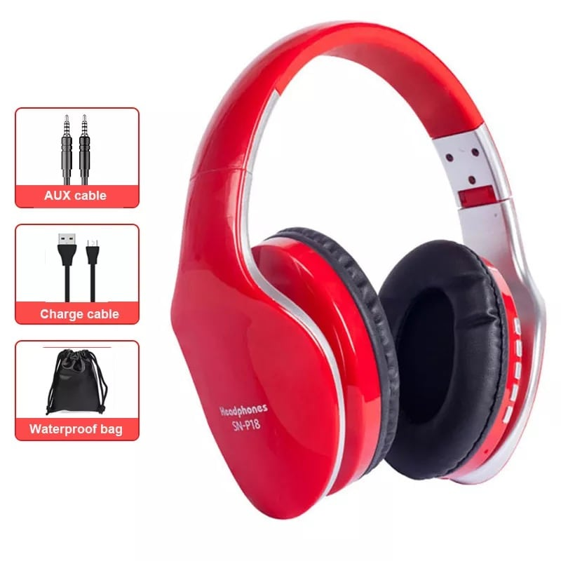 Foldable Adjustable Gaming Earphones With Mic For PC Phone Red - 1