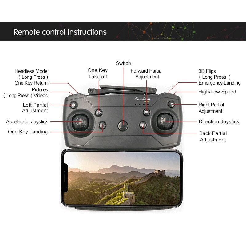 Folding Selfie Drone GW58/XT-1 with HD Camera Headless Mode Hover Quadcopter - 2