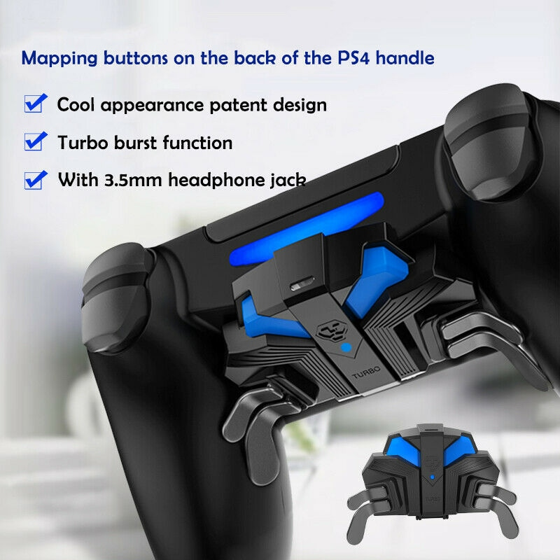 For PS4 Slim/Pro Controller Gamepad Back Expansion Button FPS Mapping Key Adapter Turbo MODS Elite Paddies - 10