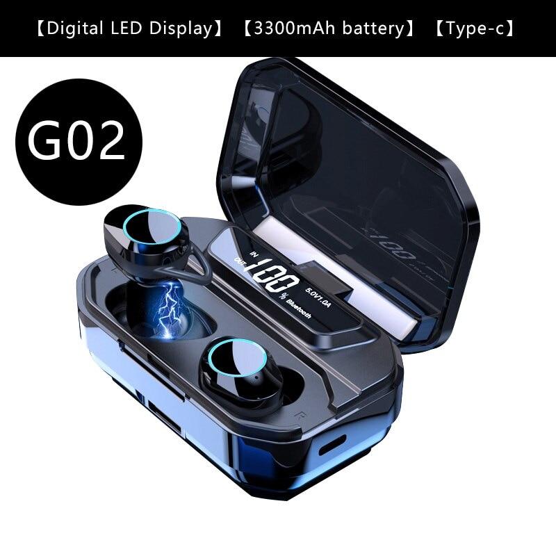 G02 V5.0 Bluetooth Stereo Earphone Wireless IPX7 Waterproof Touch Earbuds Headset - 1