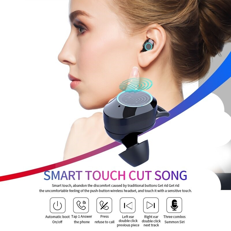 G02 V5.0 Bluetooth Stereo Earphone Wireless IPX7 Waterproof Touch Earbuds Headset - 2