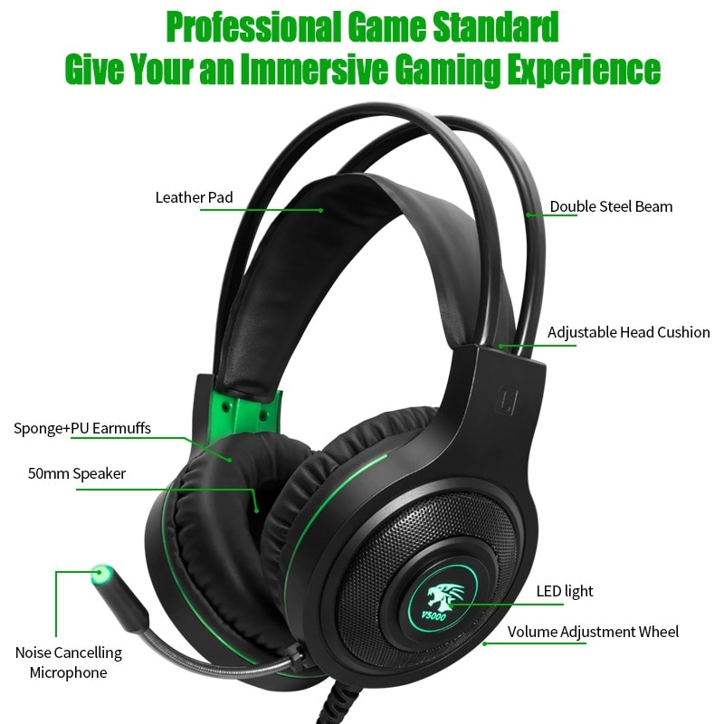 Gaming Headset 7.1 Stereo with Microphone Voice Control for PC PS4 Laptop Black - 2