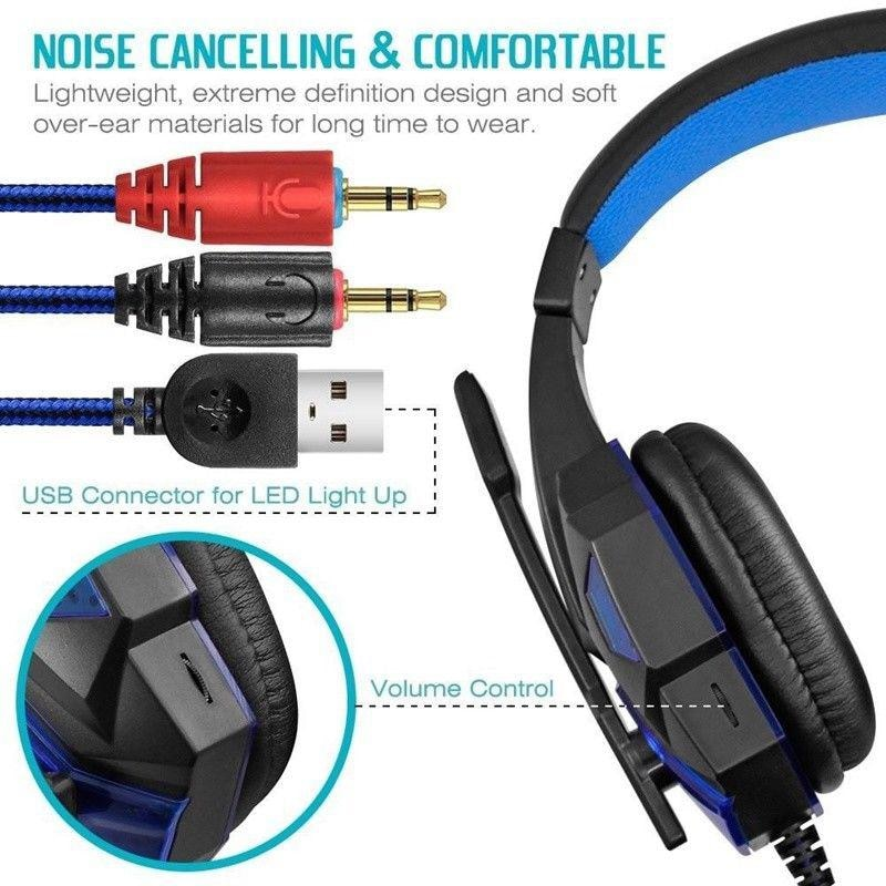 Gaming Headset EastVita PC780 with lighting microphone and bass earphones for PC / PS4 / Xbox - Blue - 4