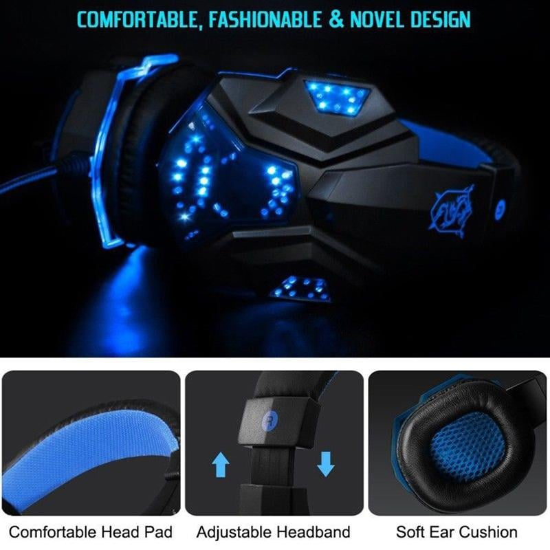 Gaming Headset EastVita PC780 with lighting microphone and bass earphones for PC / PS4 / Xbox - Blue - 5