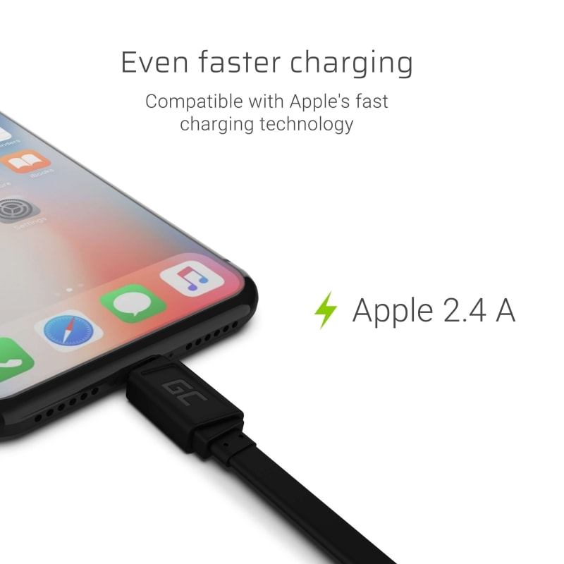 GC® Cable GCmatte Lightning Flat 25 cm with Apple 2.4A for iPhone 5S 6 6S 7 8 X XR XS - 2