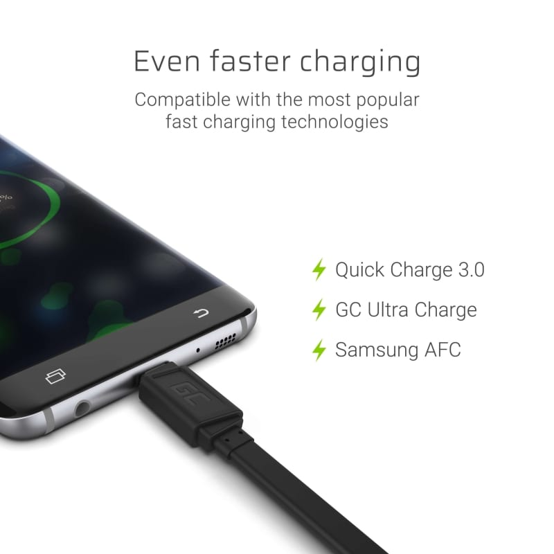 GC® Cable GCmatte Micro USB Flat 25 cm with QC Quick Charge 3.0 fast charging AFC for Samsung Huawei LG PS4 - 3