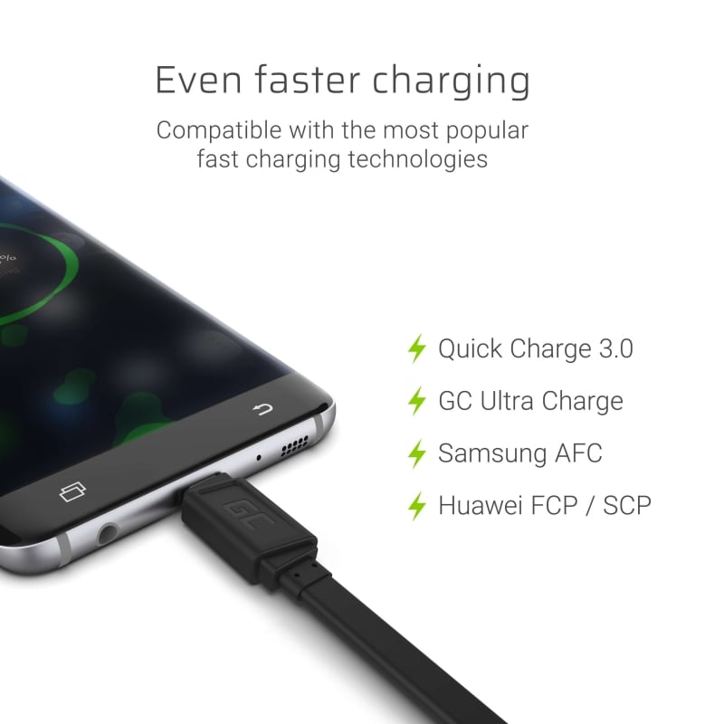 GC® Cable GCmatte USB-C Flat 25 cm GC Ultra Charge QC Quick Charge 3.0 Samsung AFC, Huawei FCP/ SCP - 2