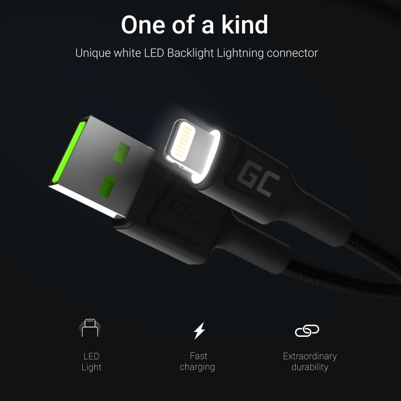 GC® Cable Green Cell GC Ray USB-A - Lightning White LED 120cm with support for Apple 2.4A fast charging - 2