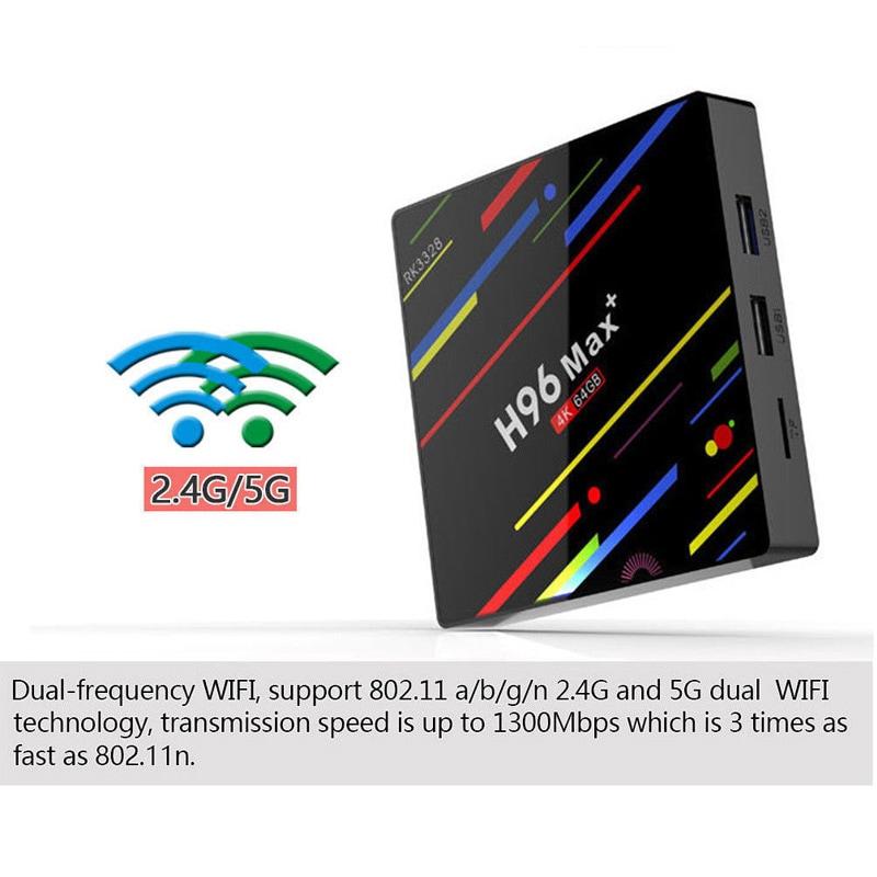 H96 Max + TV Box K17.6 HD Smart Network Media Player - 4GB RAM, 32GB ROM, Android 8.1, US PLUG - 4