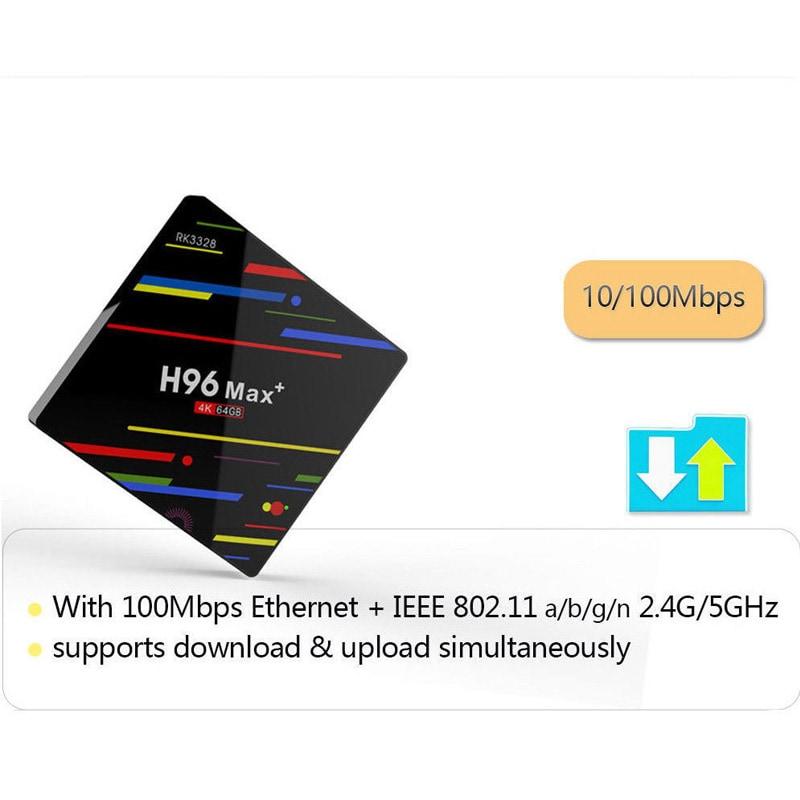 H96 Max + TV Box K17.6 HD Smart Network Media Player - 4GB RAM, 32GB ROM, Android 8.1, US PLUG - 6