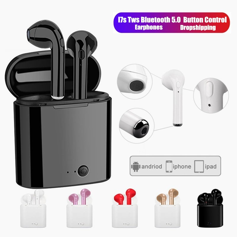 i7s Tws Bluetooth Earphones with Charging Pods for iPhone Xiaomi Huawei Samsung - Black - 2