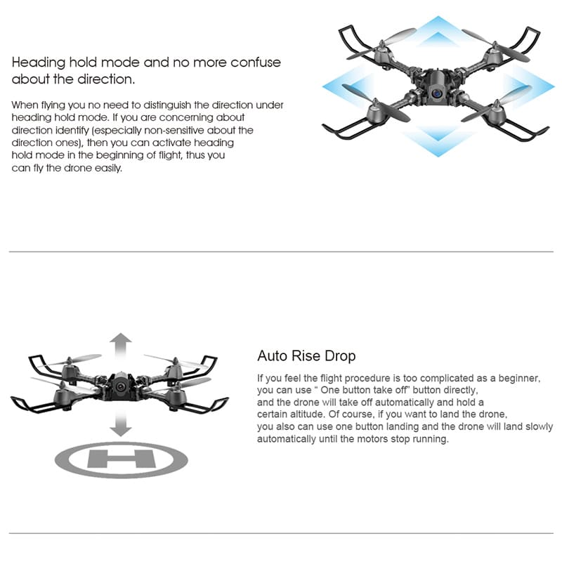 iDrone i5 Camera Drone - Altitude Hold, Hedless Mode, Waypoints Follow, FPV App, Camera, Foldable, 6 Axis Gyro - 7