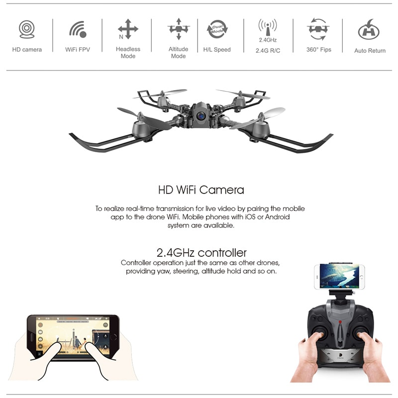 iDrone i5 Camera Drone - Altitude Hold, Hedless Mode, Waypoints Follow, FPV App, Camera, Foldable, 6 Axis Gyro - 6