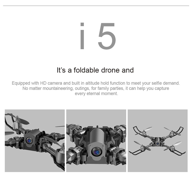 iDrone i5 Camera Drone - Altitude Hold, Hedless Mode, Waypoints Follow, FPV App, Camera, Foldable, 6 Axis Gyro - 5