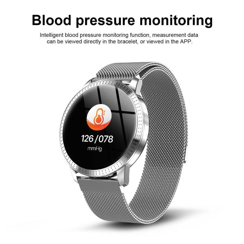 IP67 Waterproof Smart Watch Fitness Tracker Heart Rate Blood Pressure Monitor Tempered Mirror Sliver Black - 6