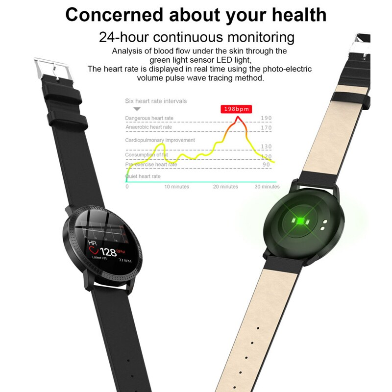 IP67 Waterproof Smart Watch Fitness Tracker Heart Rate Blood Pressure Monitor Tempered Mirror Sliver Black - 4