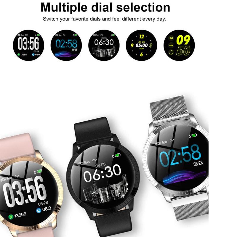 IP67 Waterproof Smart Watch Fitness Tracker Heart Rate Blood Pressure Monitor Tempered Mirror Sliver Black - 2