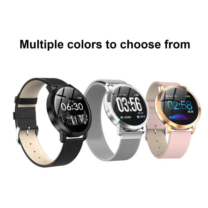 IP67 Waterproof Smart Watch Fitness Tracker Heart Rate Blood Pressure Monitor Tempered Mirror Sliver Black - 1