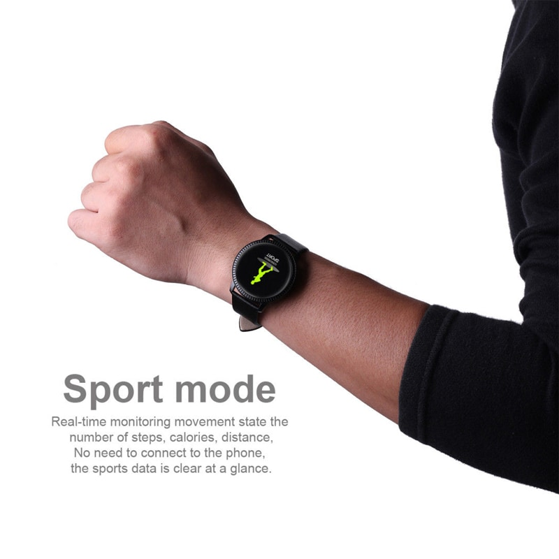 IP67 Waterproof Smart Watch Fitness Tracker Heart Rate Blood Pressure Monitor Tempered Mirror Sliver Black - 9