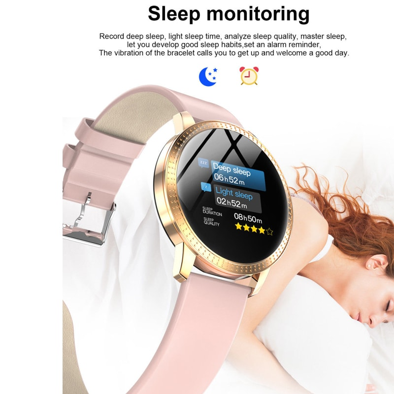 IP67 Waterproof Smart Watch Fitness Tracker Heart Rate Blood Pressure Monitor Tempered Mirror Sliver Pink - 5