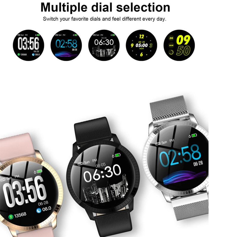 IP67 Waterproof Smart Watch Fitness Tracker Heart Rate Blood Pressure Monitor Tempered Mirror Sliver Pink - 2