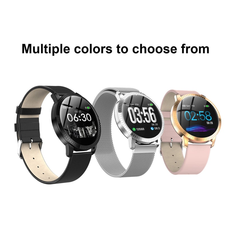IP67 Waterproof Smart Watch Fitness Tracker Heart Rate Blood Pressure Monitor Tempered Mirror Sliver Pink - 1