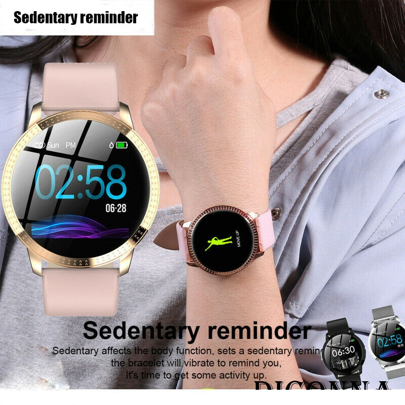 IP67 Waterproof Smart Watch Fitness Tracker Heart Rate Blood Pressure Monitor Tempered Mirror Sliver Pink - 7