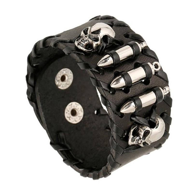 Leather Bracelet Adjustable Wristband with Steel Skull Bullet Rivet Cuff - 1