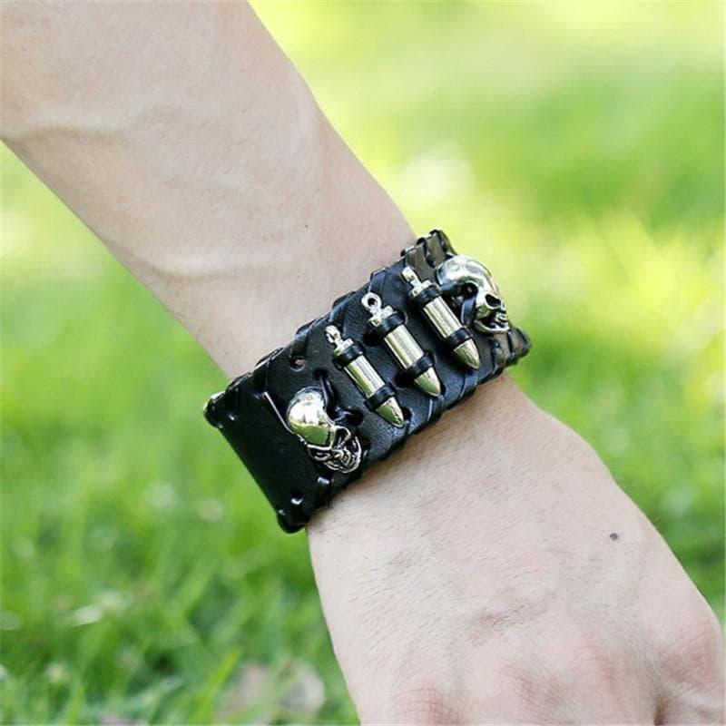 Leather Bracelet Adjustable Wristband with Steel Skull Bullet Rivet Cuff - 2