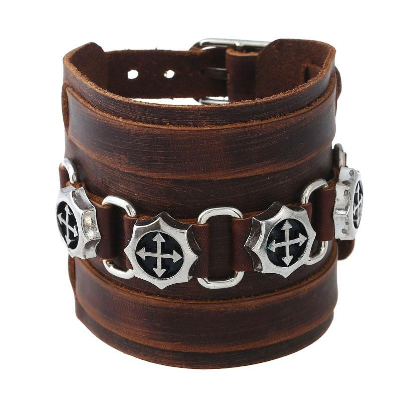 Leather Bracelet Wristband Alloy Buckle  Skull Punk Rock Cowhide in Brown - 1