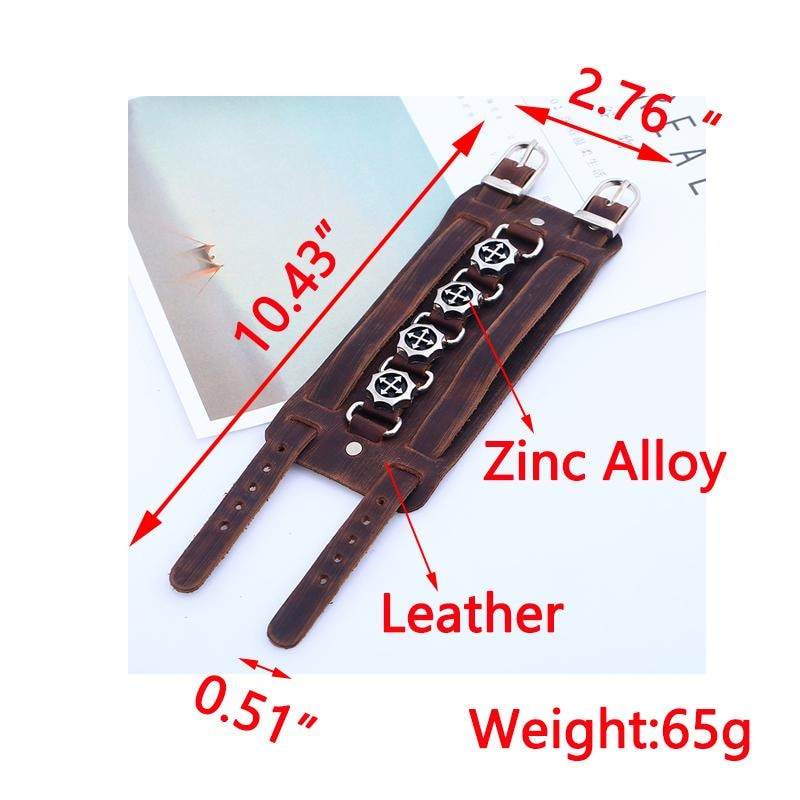 Leather Bracelet Wristband Alloy Buckle  Skull Punk Rock Cowhide in Brown - 4