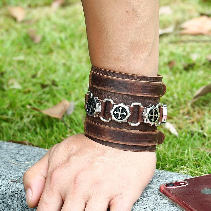 Leather Bracelet Wristband Alloy Buckle  Skull Punk Rock Cowhide in Brown - 2