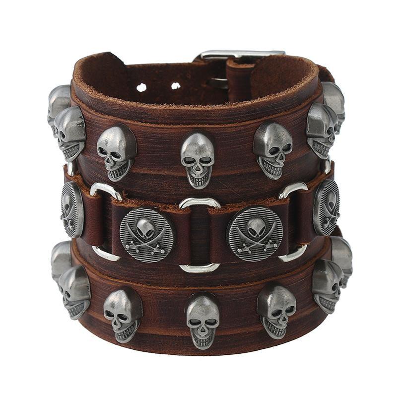 Leather Wristband Bracelet Skull Copper Bangle - 1